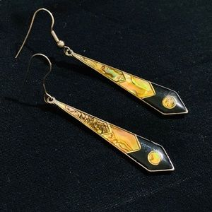Vintage Abalone Enamel Earring